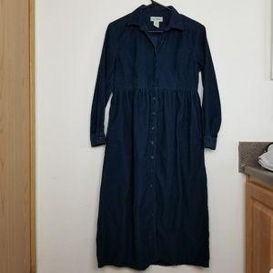 L.L. BEAN|  Blue Corduroy button down dress